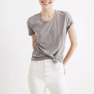 Madewell Heather Shale Grey Knot-Front Tee